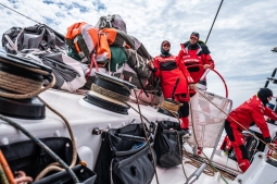 Leg 9, from Newport to Cardiff, day 04 on board MAPFRE, Xabi Fernandez, Pablo Arrarte and Sophie Ciszek. 23 May, 2018.