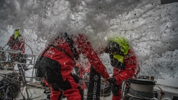 Leg 9, from Newport to Cardiff, day 05 on board Dongfeng. 24 May, 2018. Horace and Stu unnder water grinding.