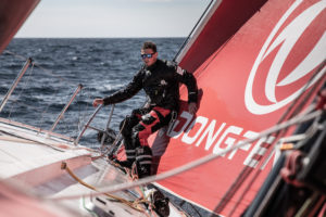 Leg 11, from Gothenburg to The Hague, day 03 on board Dongfeng. Jack Bouttell in action at the bow. 23 June, 2018.