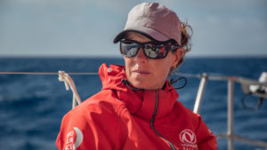 Leg 8 from Itajai to Newport, day 15 on board Dongfeng. 06 May, 2018. Carolijn Brouwer trimming.